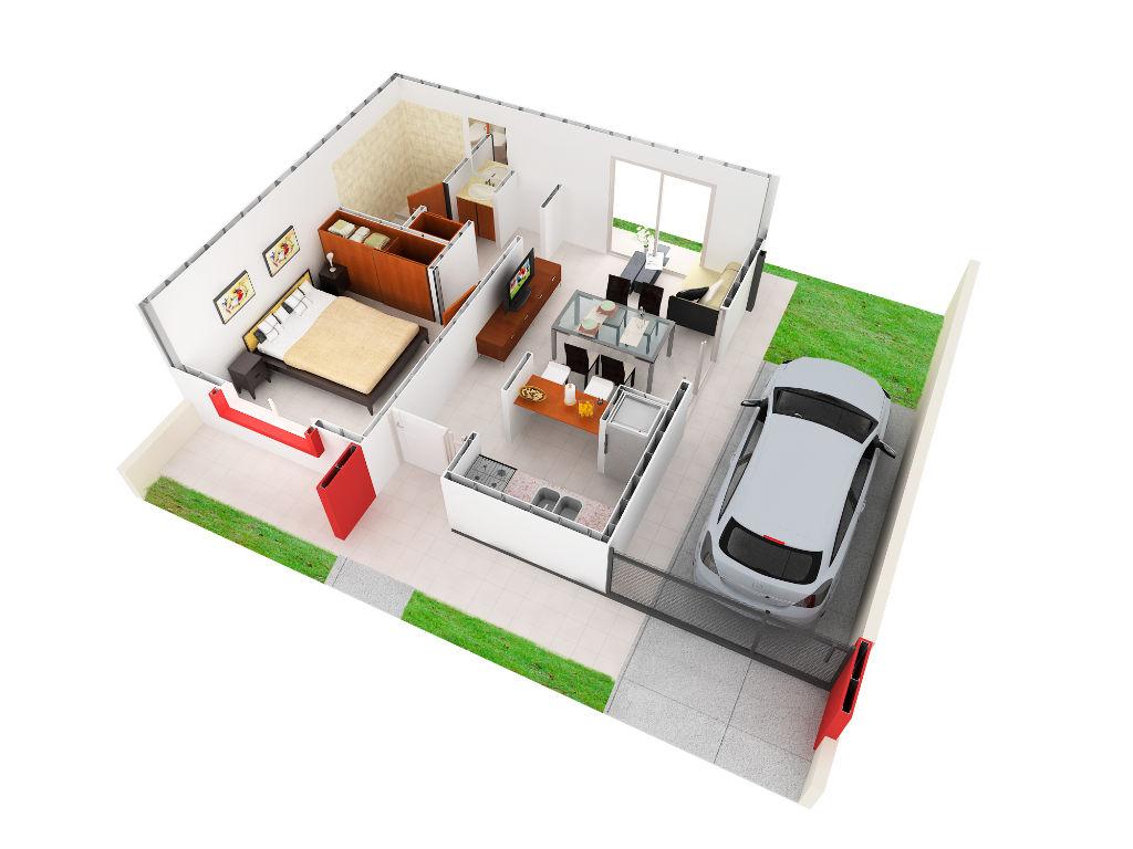 Vista Axonomética un dormitorio