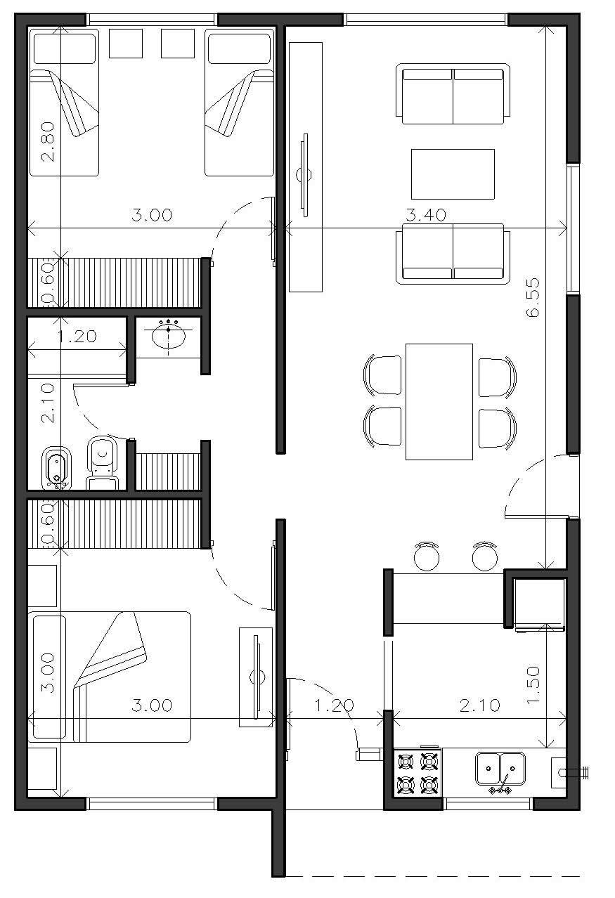 Plano Dos Dormitorios