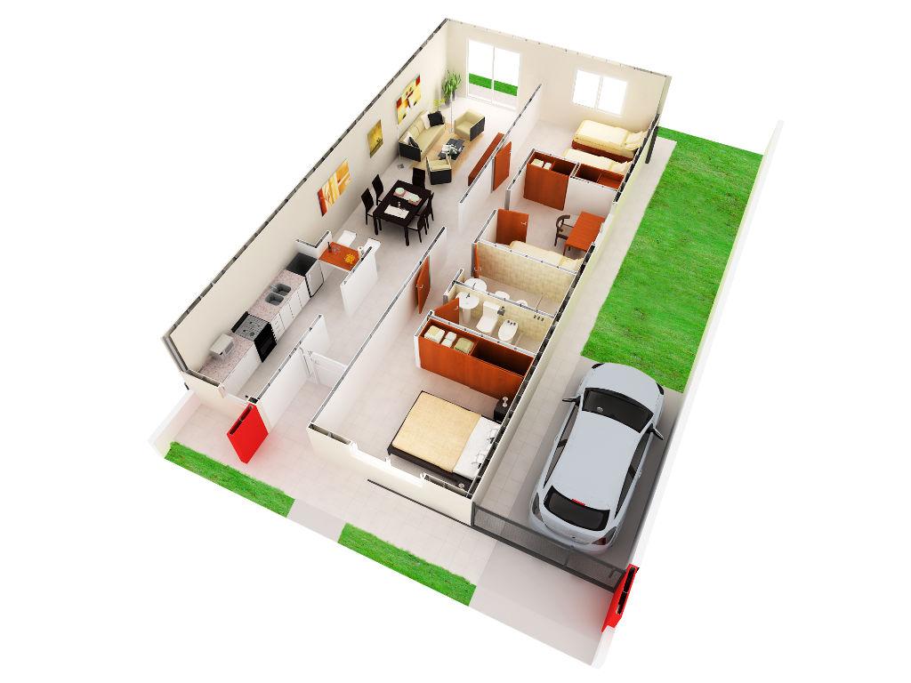 Vista Axonomética dos dormitorios
